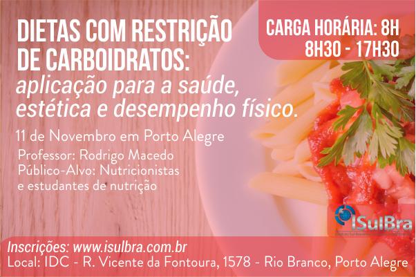 Curso para DIETAS COM RESTRIÇÃO DE CARBOIDRATOS - Rodrigo Macedo
